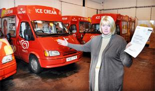 Blackburn Citizen: FACING RUIN: Catherine Elliot with her fleet of ice cream vans which could be forced off the road