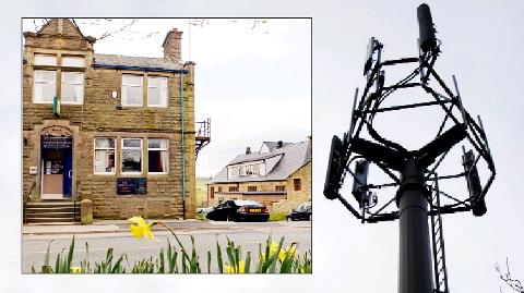 FLASHPOINT Phone companies want to site the mast at the Baxenden Conservative Club, above left, which is only    20 yards from the Baxenden Cof E Primary School on the right