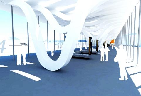 DESIGN A graphic of how the new bus station interior will look
