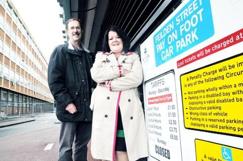 Blackburn Citizen: INCENTIVE Council leader Kate Hollern and regeneration chief Dave Harling at Feilden Street car park which, along with others, will offer free parking