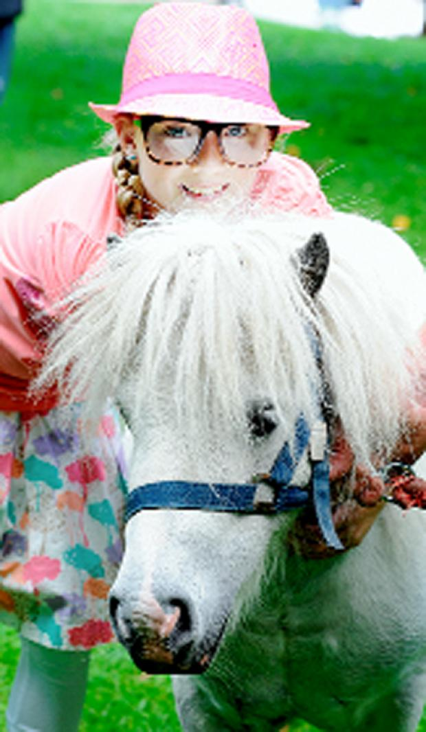 Amelia Hambleton, 10, meets Dave the pony
