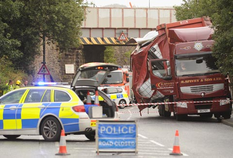 Demands for warning signs after lorry hits Oswaldtwistle railway bridge