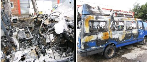 Blackburn Citizen: BURNT-OUT Police are investigating after a minibus had a window smashed before being set on fire, and a second minibus was damaged