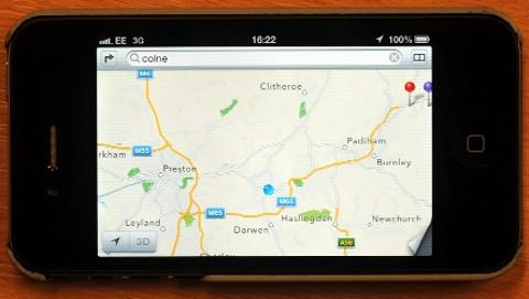 Blackburn Citizen: THERE'S Something missing The iPhone's map app shows East Lancashire ... but where is Blackburn?