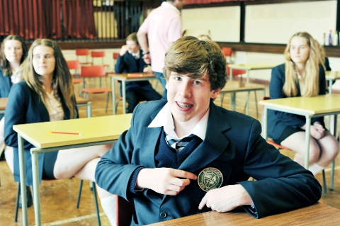 MOVIE ROLE Pupil Chris Charleston shows off his new school badge for Northern Soul