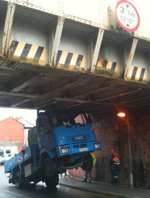 Lorry crashes into Little Harwood railway bridge