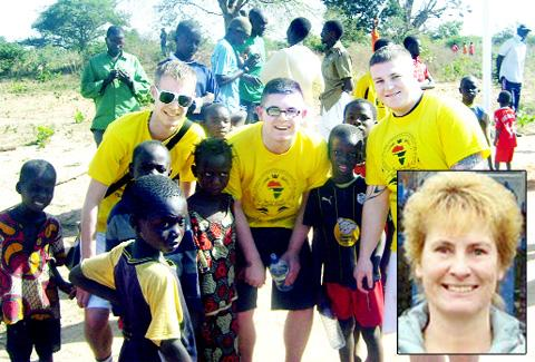 Lewis Atkinson, Damien Moulden and Kyle Jackson, from Darwen Spartans, on their previous visit to Gambia and (inset) Coun Stephanie Brookfield.