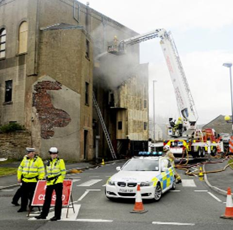 The fire at the former Accrington Conservative Club
