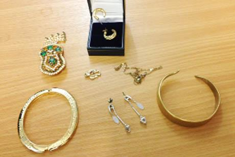 HIGH QUALITY The jewellery which was found by police in the house raid, included a unique brooch set with green stones