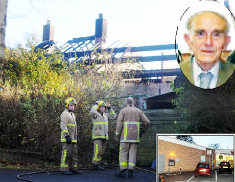 MURDER PROBE Firefighters at the bungalow in which Mr Proctor, top, died. Inset above, the cash machine at Tesco Express