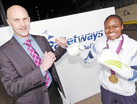 Wayne Kenyon with boxer Nicola Adams