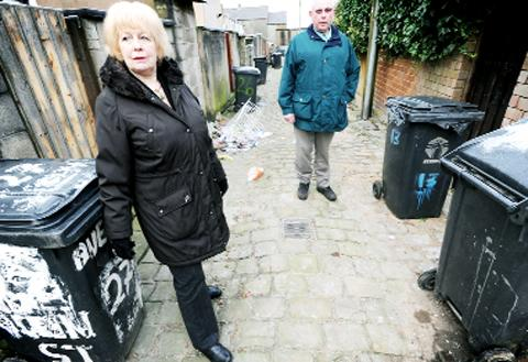 Blackburn Citizen: Community development officer Barbara Sharples tours the back streets of Clayton-le-Moors with new street ambassador Jim Gannon