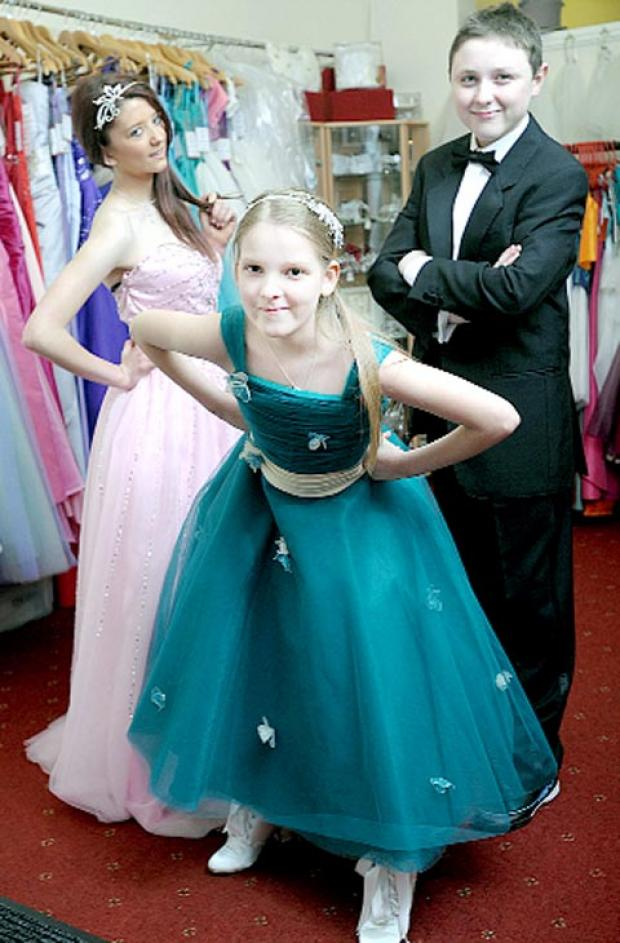 Young models Hollie Clapham, 11, centre, Hayley Wells and Connor Naylor, both 14, at Bridal Bliss