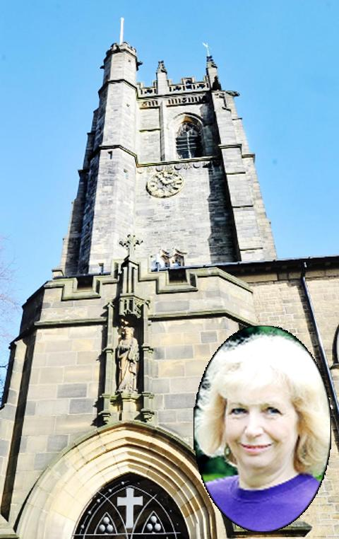 St Silas's Church tower and (inset) church member Ruth Loft