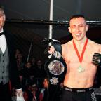 Blackburn Citizen: Richard Buskin after winning the lightweight UFW champion belt