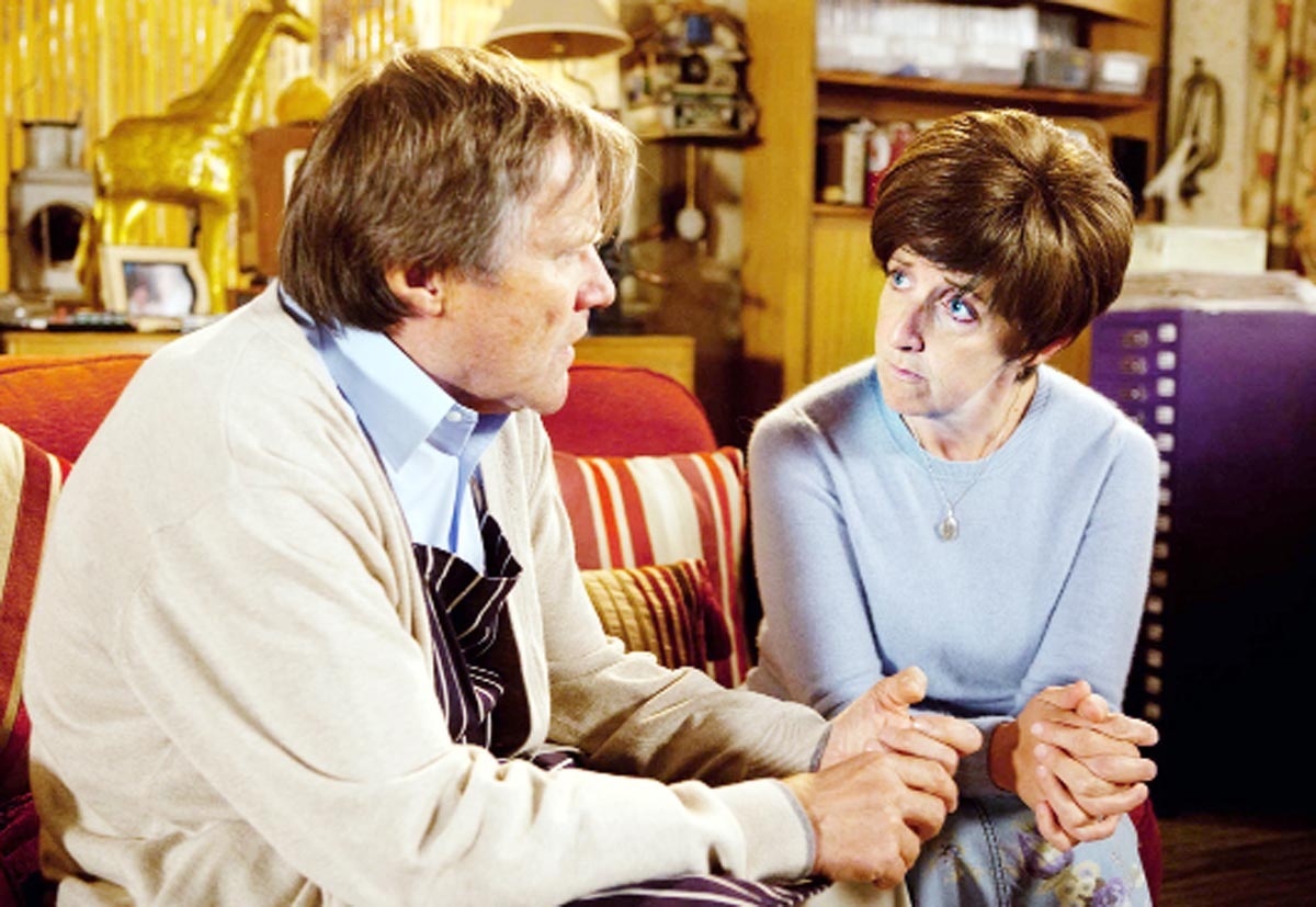 Julie Hesmondhalgh, right, and David Neilson as Hayley and Roy