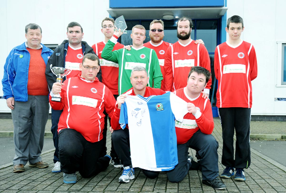 Mill Hill Diversity Football Team receive new kit from Rovers assistant manager Terry McPhillips