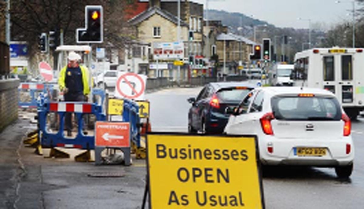Roadworks currently ongoing in Rawtenstall