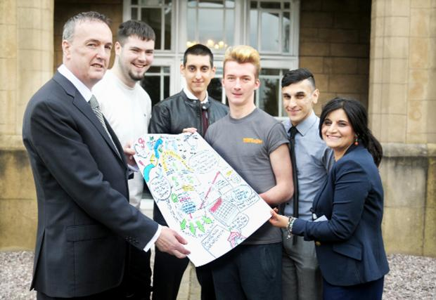 Blackburn Citizen: Police and Crime Commissioner Clive Grunshaw (left) and Assistant Commissioner Saima Afzal with young leaders Josh Hatch, Mo Sheikh, Ryan McDermott and Sam Ali
