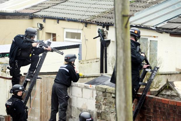 Armed police take aim at bull-mastiff type dogs that attacked Daniel Boardman in 2011
