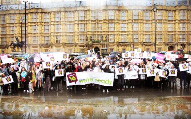 Blackburn Citizen: East Lancashire students were among those who gathered outside the Houses of Parliament
