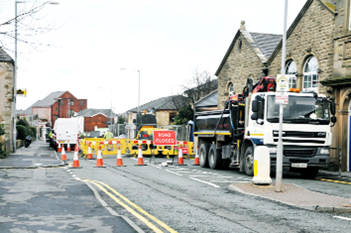 The road closed sign at the roadworks in Union Road, Oswaldtwistle