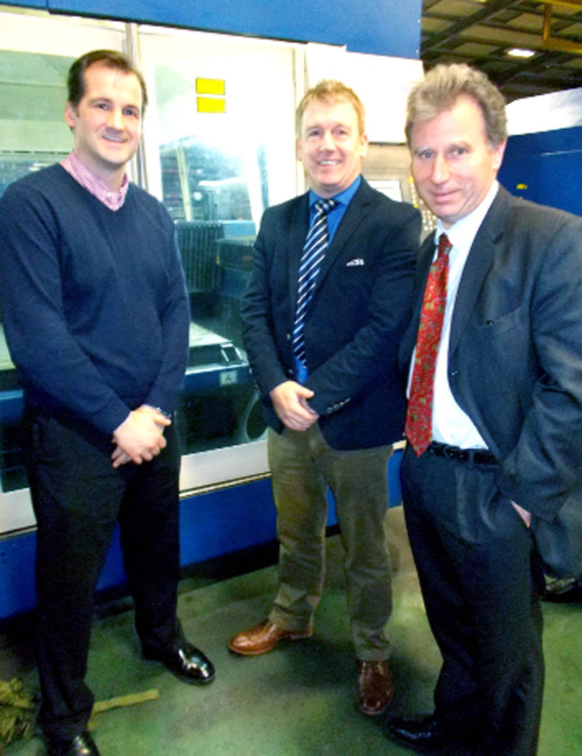 Oliver Letwin (right) with MP Jake Berry and Wayne Wild of WEC