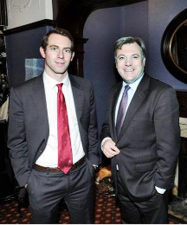 Labour's prospective parliamentary candidate for Rossendale and Darwen Will Straw with Shadow Chancellor Ed Balls