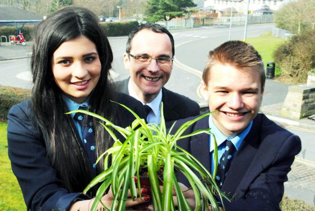 Blackburn Citizen: Deputy head Simon Varley with Leah Cassell and Dean Metcalfe