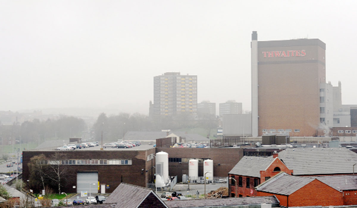 The grey mist hanging over Blackburn yesterday