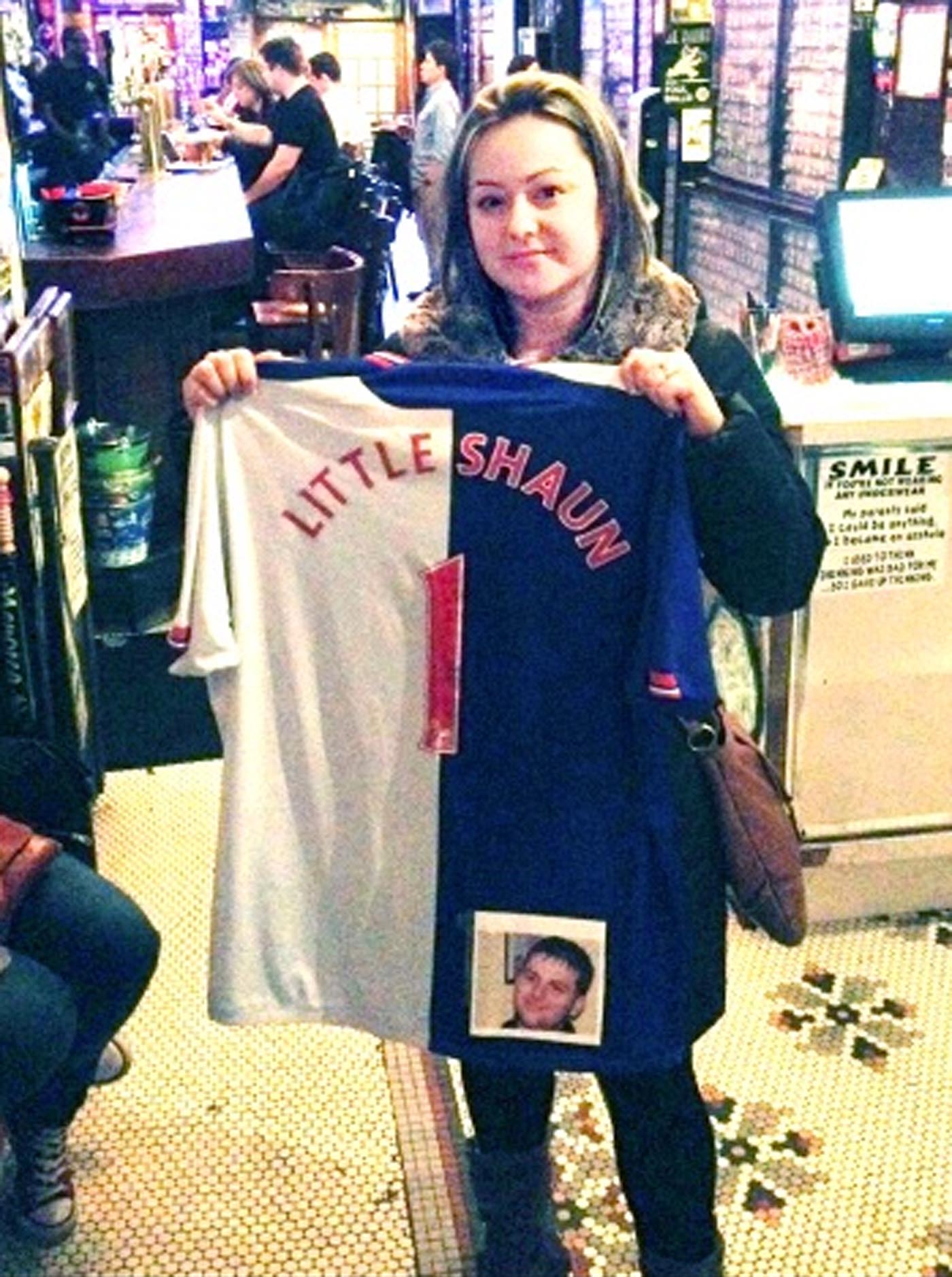 Kerry Fitzsimmons holds up Shaun Haggart's Rovers shirt in Foley's Bar, New York; inset left is Shaun