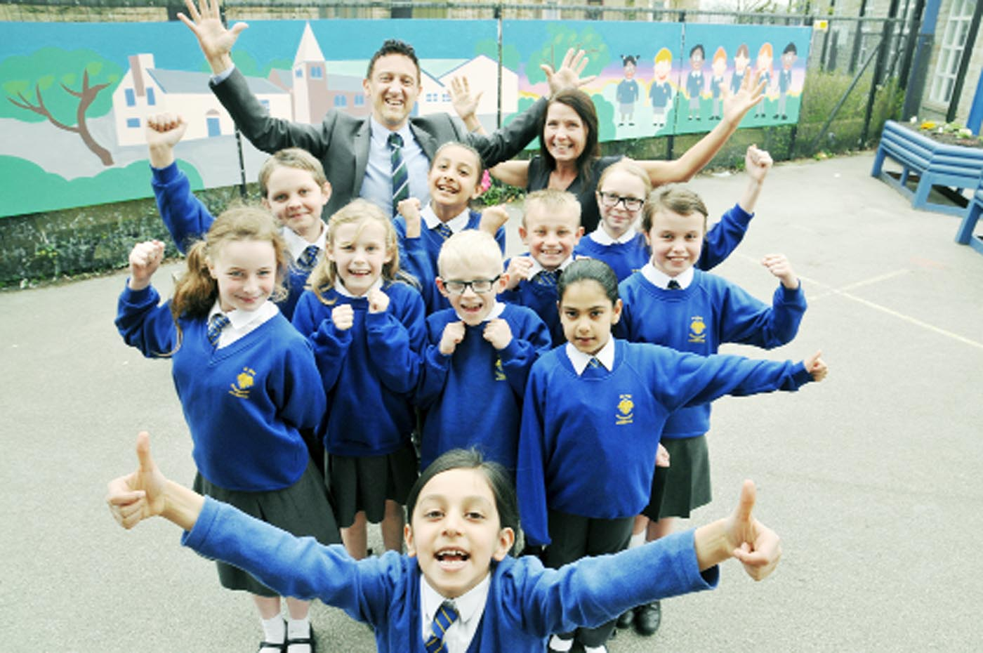 Maya Ahmed, front, leads the way with the school council, head Mark Proctor and school council leader Aileen Massey