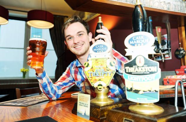 Blackburn Citizen: Landlord Matt Worden at the Crown pub in Darwen which has just been awarded Cask Marque status