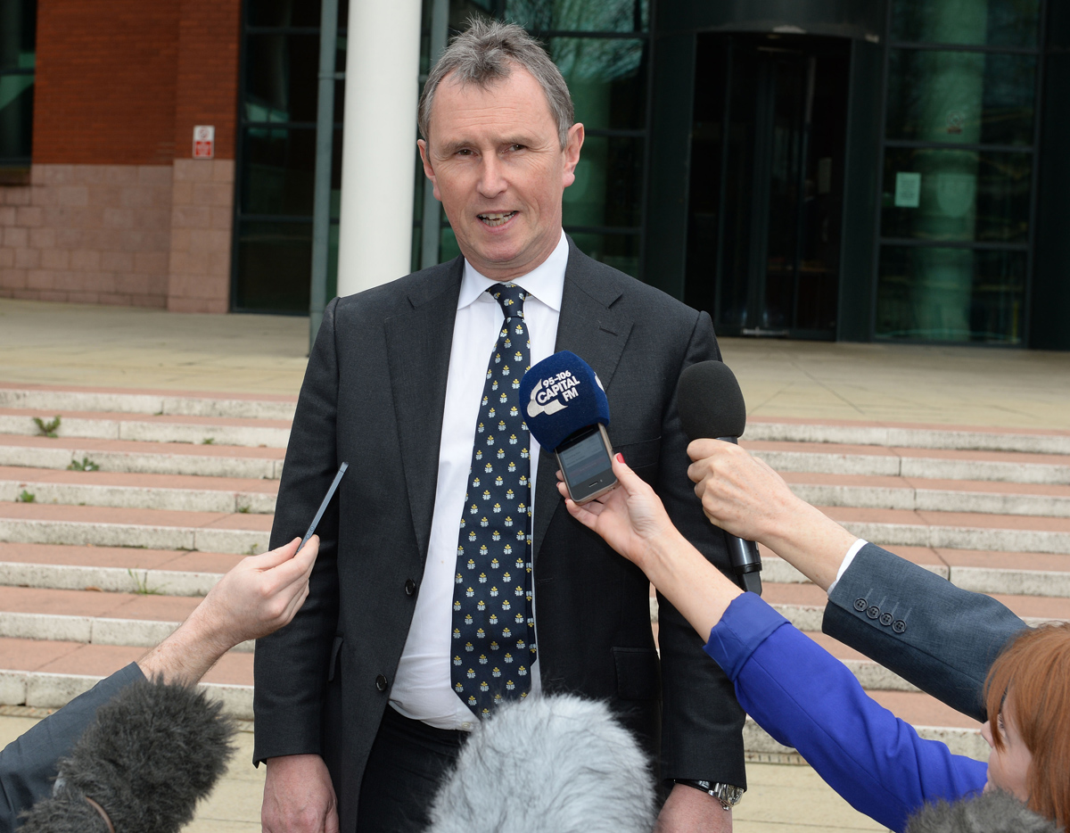 Former Commons deputy speaker Nigel Evans speaks outside Preston Crown Court after he was found not guilty of nine charges after a five week trial.