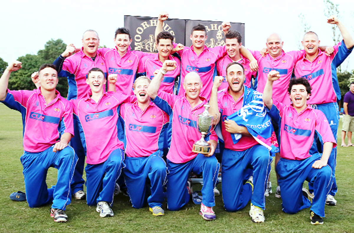 Lowerhouse CC team celebrating their Lancashire League T20 win in July 2013