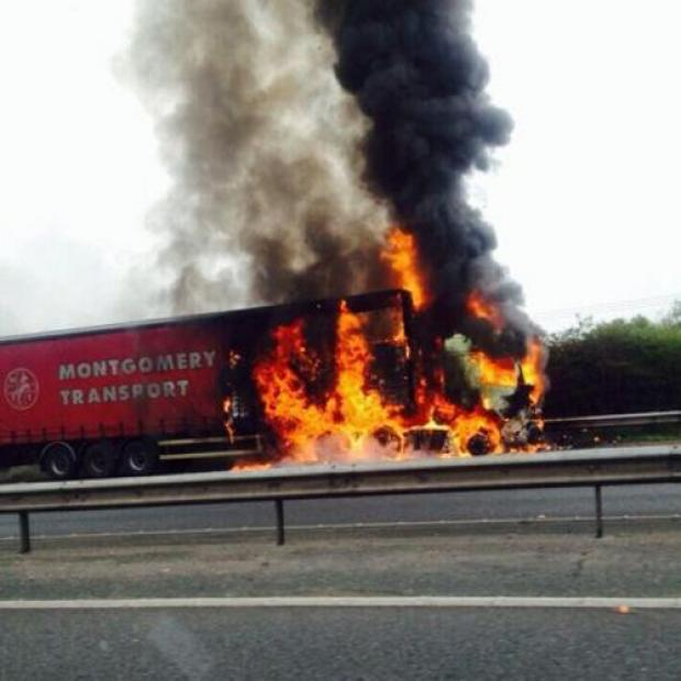 Blackburn Citizen: Two-hour delays on M61 after pet food lorry catches fire