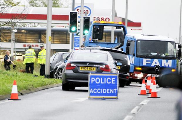 Blackburn Citizen: Police and recovery vehicles at scene of Friday's incident