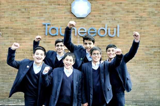 From left, pupils Hamzah Isap, Adam Patel, Humza Yakub, Aadil Waghat, Muhammad Hasan and Muhammad Mohammed celebrate  Tauheedul Boys' High School to  get an outstanding Ofsted report