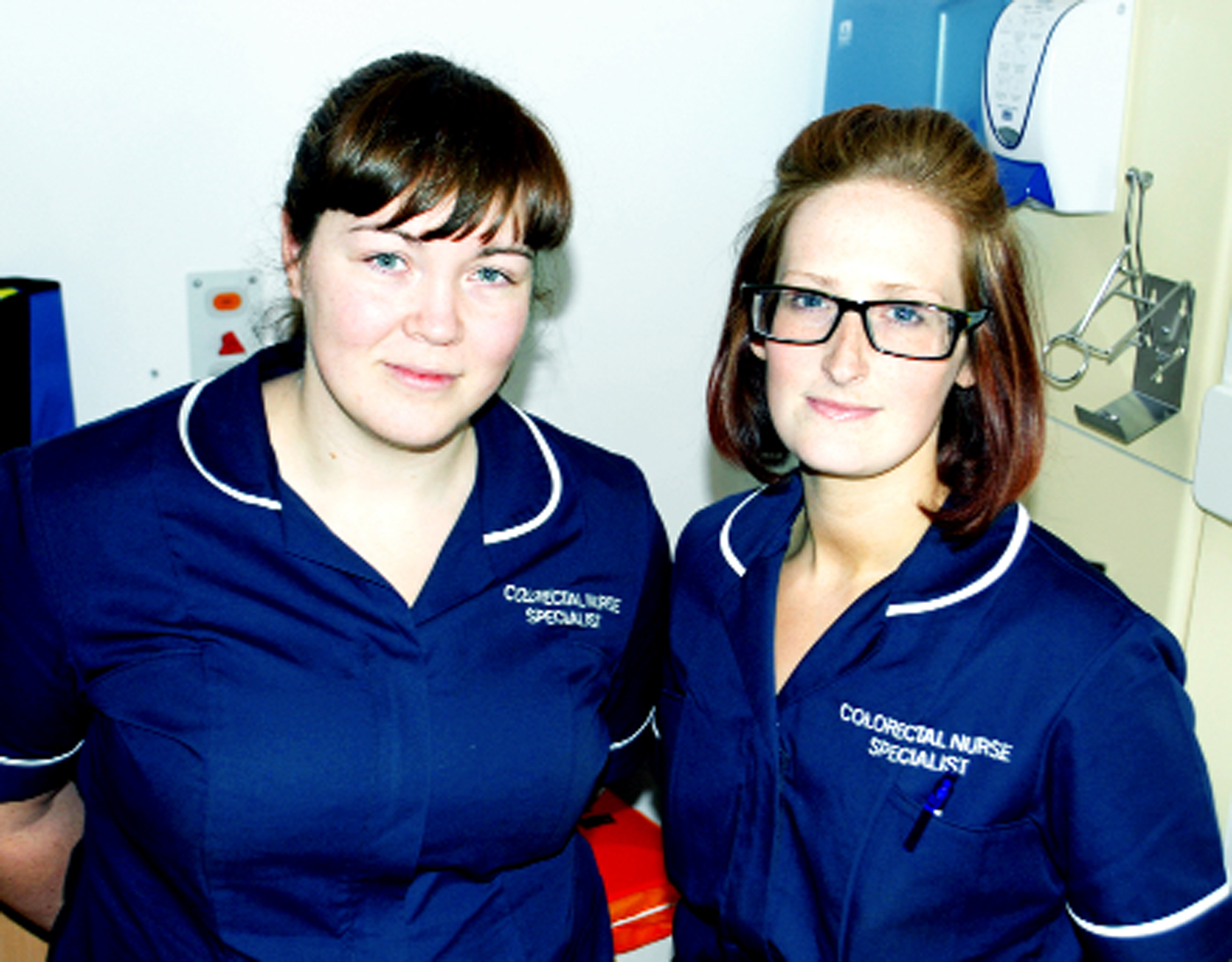 Andrea Darbyshire, left, Colorectal Nurse Specialist at the East Lancashire NHS Hospital Trust, and fellow nurse Mandy Darbyshire