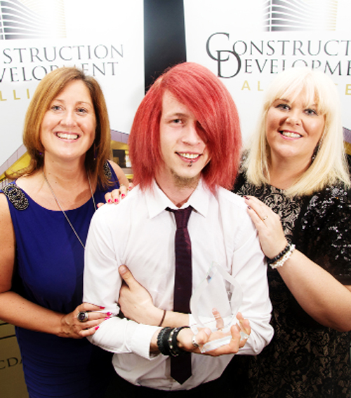Alison Clews, TVH Skills and enterprise co-ordinator, Kyle, and Sharn Wightman, TVH skills and enterprise officer