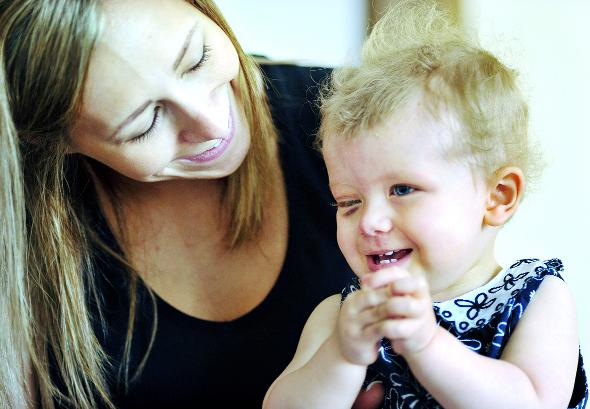 Elyssa Scott and her mum Natasha face up to the battle ahead to save the toddler's sight