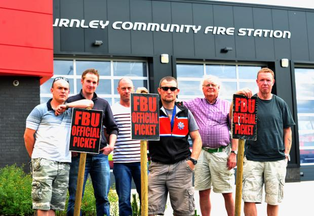 Blackburn Citizen: Firefighters Simon Wright, John Rivett, crew manager Charlie Cottam, firefighter Jimmy Barrow, national pensions conventions activist Phil Newton and crew manager Alan Ashworth