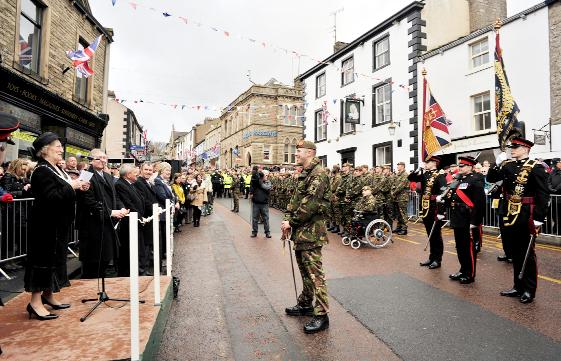 Ribble Valley Mayor Coun Lois Rimmer reads the citation at the ceremony in Clitheroe as the Duke of Lancaster's Regiment are given the Freedom of the Borough