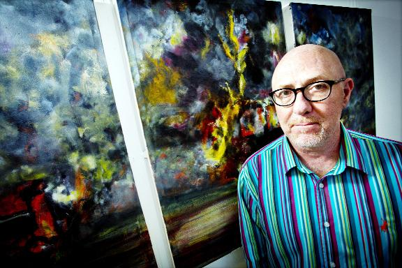 Blackburn Citizen: Bobby Tait with one of the works inspired by his time in Northern Ireland
