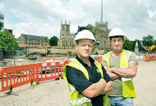Karl Grant (left) and Paul Coulson who found the bones near the cathedral