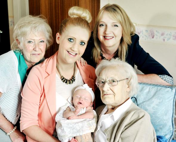 Blackburn Citizen: Five generations met in Little Harwood when great great grandmother Frances Ellen Thomson, 91, invited her daughter Frances Dean (left), 71,  now a great grandmother, Frances's daughter Adrienne Middleton, 49. (back right) who is now a grandmother, and he