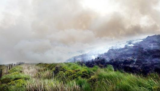 Smoke billows over Darwen moors yesterday Picture: LANCASHIRE FIRE AND RESCUE