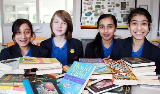 Pleckgate High reading stars (from left) Sadia Ali, Rhiannon Fielding, Saniya Ali and Alya Irfan