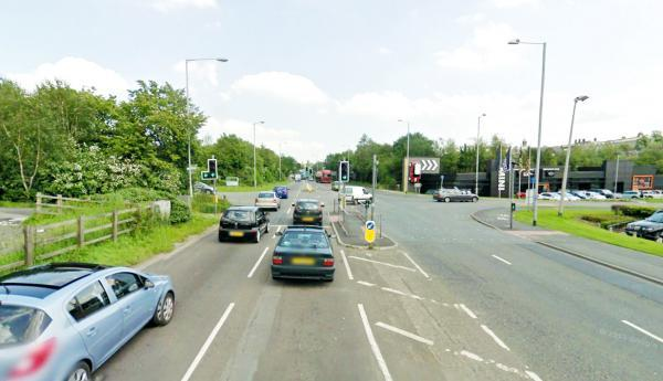 A typically busy scene at the Vivary Way traffic lights in Colne