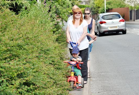 Blackburn Citizen: Carmelita Curtis with grandson Oakley, Hollie O'Brien with son Joseph and Coun Granville Morris with the overgrown hedges in Grane Road